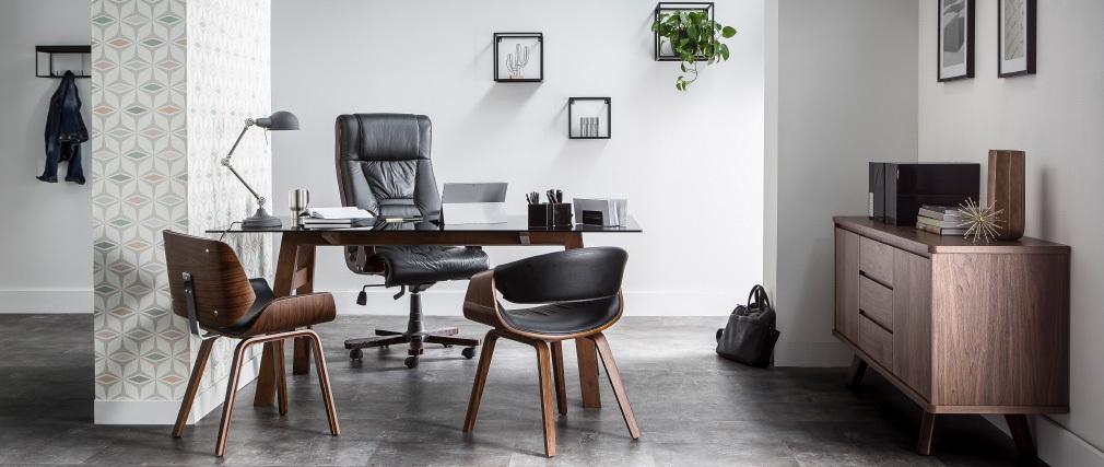 Sedia design Bianco e legno scuro noce RUBBENS
