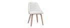 Sedia design bimateriale bianco e legno chiaro FLUFFY