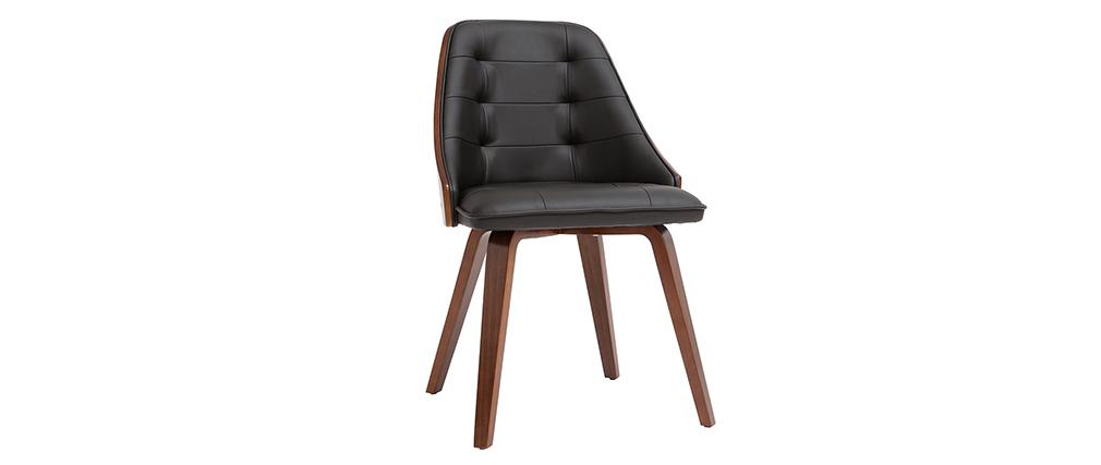 Sedia design bimateriale nero e legno  scuro FLUFFY