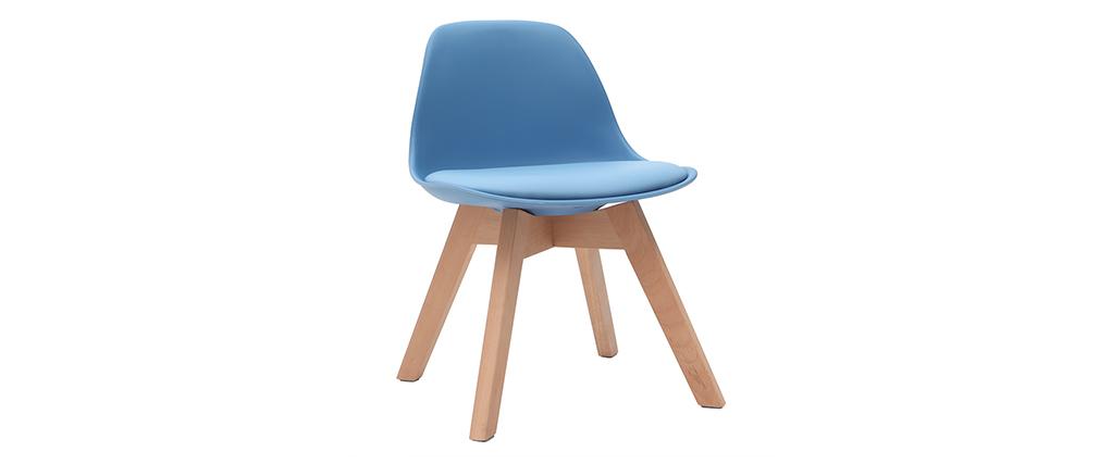 Sedia design blu con piedi in legno BABY PAULINE