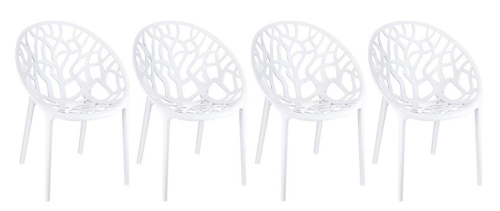 Sedia design colore bianco gruppo di 4 ARBOL
