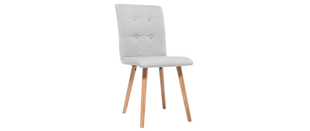 Sedia design grigio chiaro e legno gruppo di due HORTA