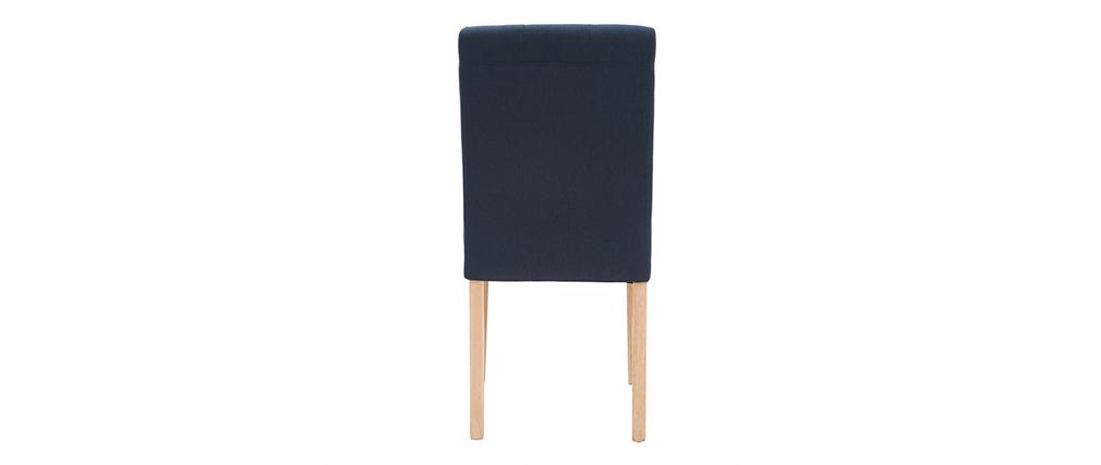 Sedia design imbottita tessuto blu gruppo di 2 ESTER