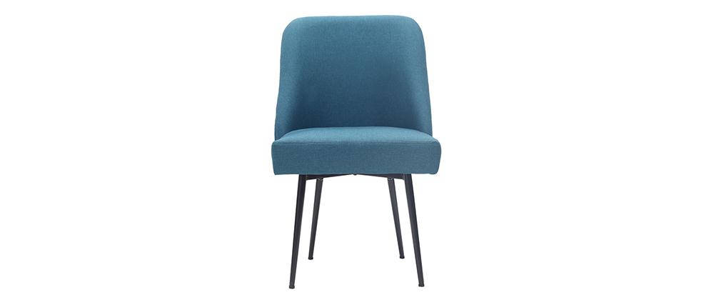 Sedia design in tessuto blu anatra e piedi in metallo nero LOV