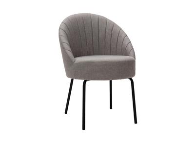 Sedia design in tessuto grigio e metallo nero IZAAC