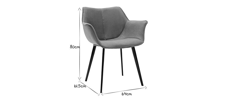 Sedia design in tessuto grigio scuro e piedi metallo nero VOLO