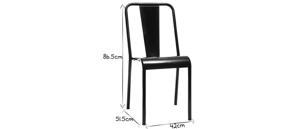 Sedia design metallo nero gruppo di 2 EVAN