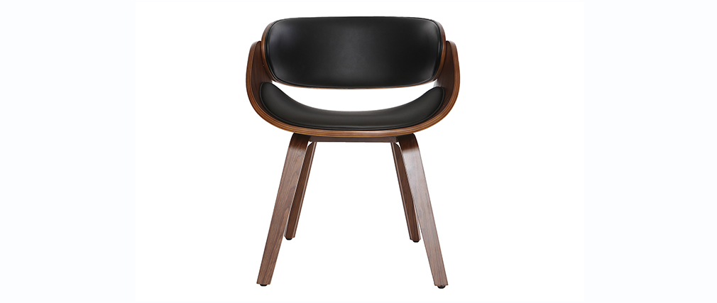 Sedia design Nero e legno scuro noce BENT