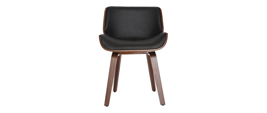 Sedia design Nero e legno scuro noce RUBBENS