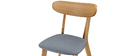 Sedia design vintage grigio e piedi legno gruppo di 2 MARIK