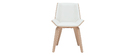 Sedia di design bianca e legno chiaro MELKIOR