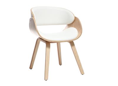 Sedia di design, colore: bianco e legno chiaro, modello: BENT
