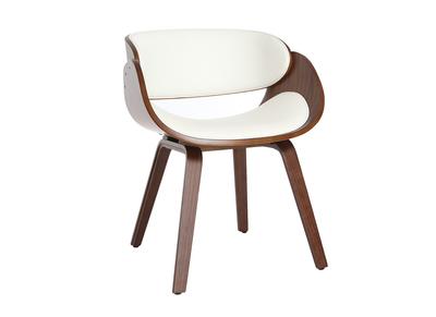 Sedia di design, colore: Bianco e legno scuro noce, modello: BENT