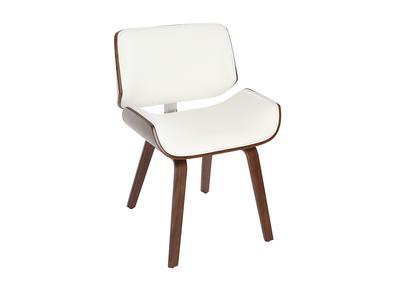 Sedia di design, colore: Bianco e legno scuro noce, modello: RUBBENS