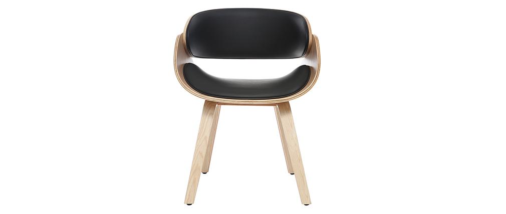 Sedia di design, colore: Nero e legno chiaro, modello: BENT