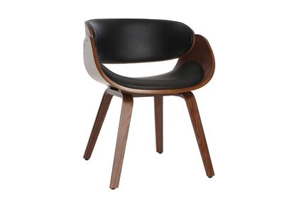Sedia di design, colore: Nero e legno scuro noce, modello: BENT