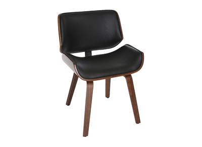 Sedia di design, colore: Nero e legno scuro noce, modello: RUBBENS