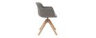 Sedia di design effetto velluto grigio e legno AARON
