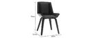 Sedia di design nera e legno scuro MELKIOR