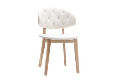 Sedia in simil-pelle, colore: Bianco, modello: SOFFY