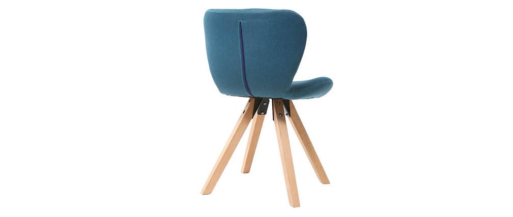 Sedia scandinava tessuto blu gambe legno chiaro ANYA