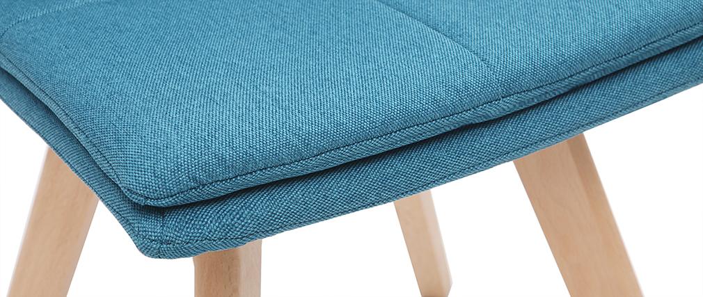 Sedia scandinava tessuto blu gambe legno chiaro gruppo di 2 THEA