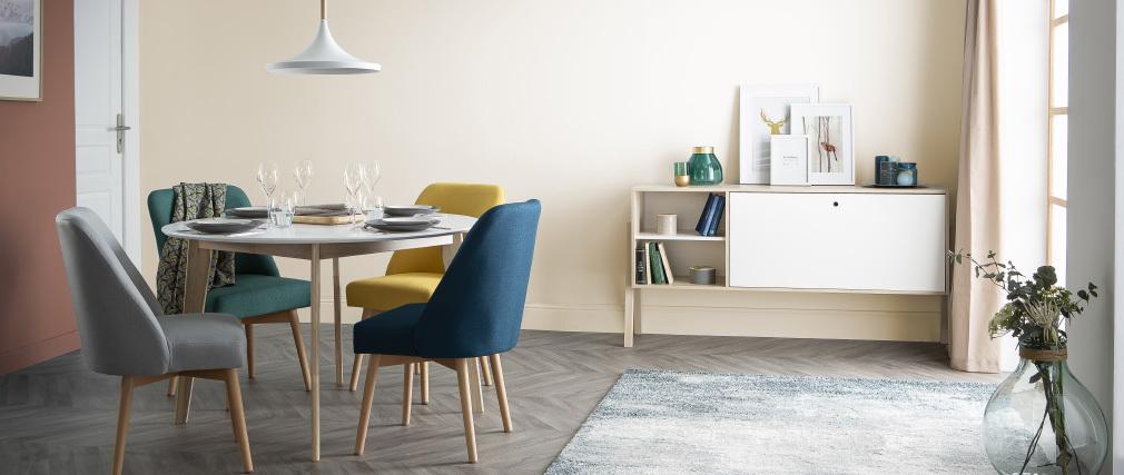 Sedia scandinava tessuto foglia di té piedi in legno chiaro LIV
