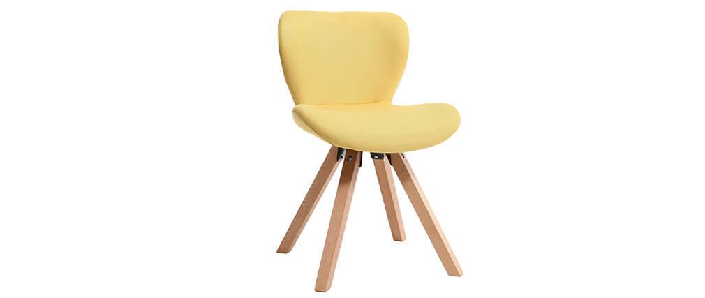 Sedia scandinava tessuto giallo gambe legno chiaro ANYA