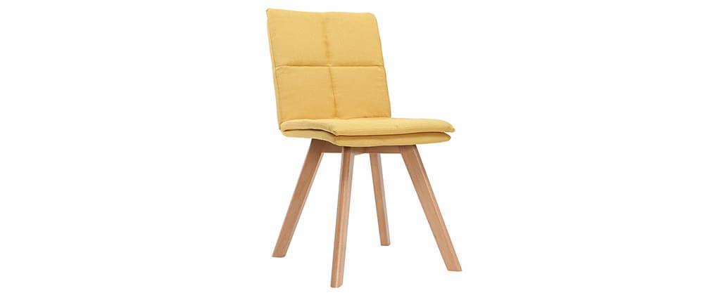 Sedia scandinava tessuto giallo gambe legno chiaro gruppo di 2 THEA