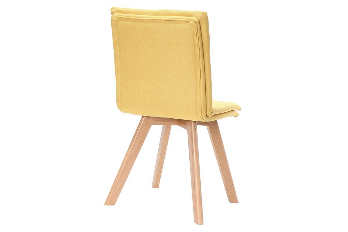 Sedia scandinava tessuto giallo gambe legno chiaro gruppo di