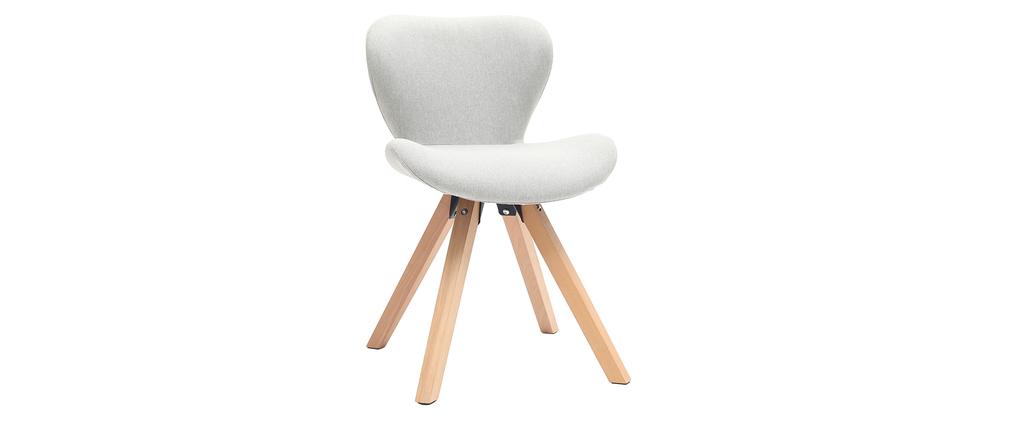 Sedia scandinava tessuto grigio gambe legno chiaro ANYA