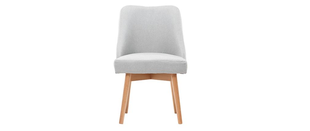 Sedia scandinava tessuto grigio piedi in legno chiaro LIV