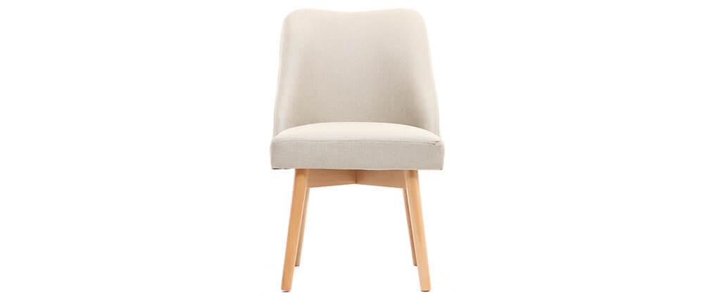 Sedia scandinava tessuto naturale piedi in legno chiaro LIV