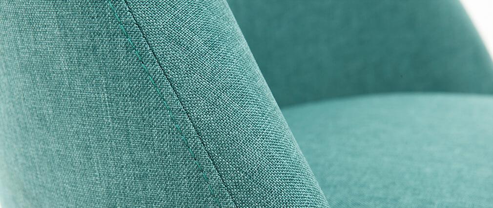 Sedia scandinava tessuto turchese piedi in legno chiaro LIV