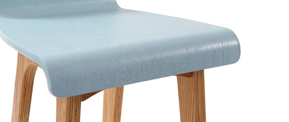 Sedia / sgabello da bar piedi in faggio seduta blu chiaro 75 cm BALTIK