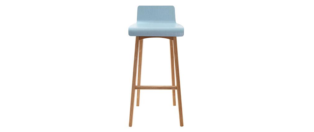 Sedia / sgabello da bar piedi in faggio seduta blu chiaro - BALTIK