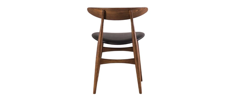 Sedia Vintage Design Legno E Pu Nero Walford Miliboo