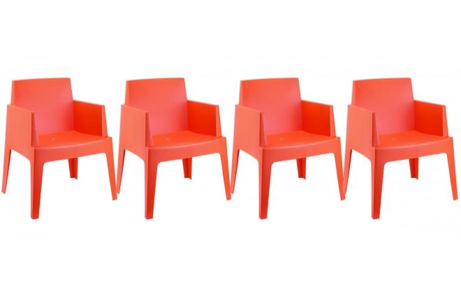 Sedie da giardino design arancioni gruppo di 4 lali miliboo for Sedie arancioni