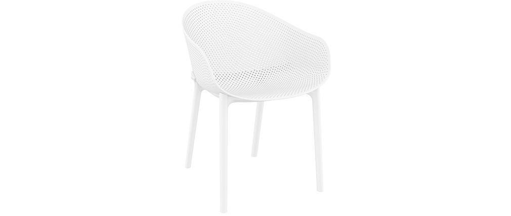 Sedie design bianche interno / esterno (gruppo di 4) OSKOL