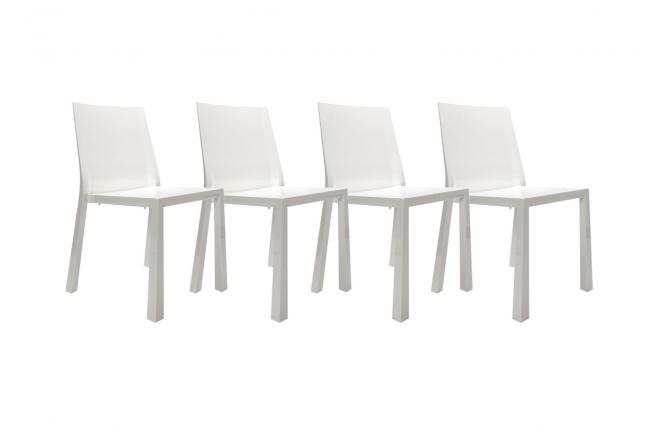 Sedie design bianche laccate in policarbonato mona gruppo for Sedie design policarbonato