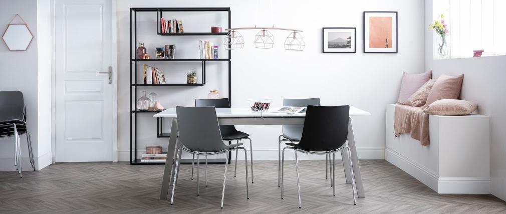 Sedie design grigio impilabili con piedi in metallo lotto for Sedie design metallo