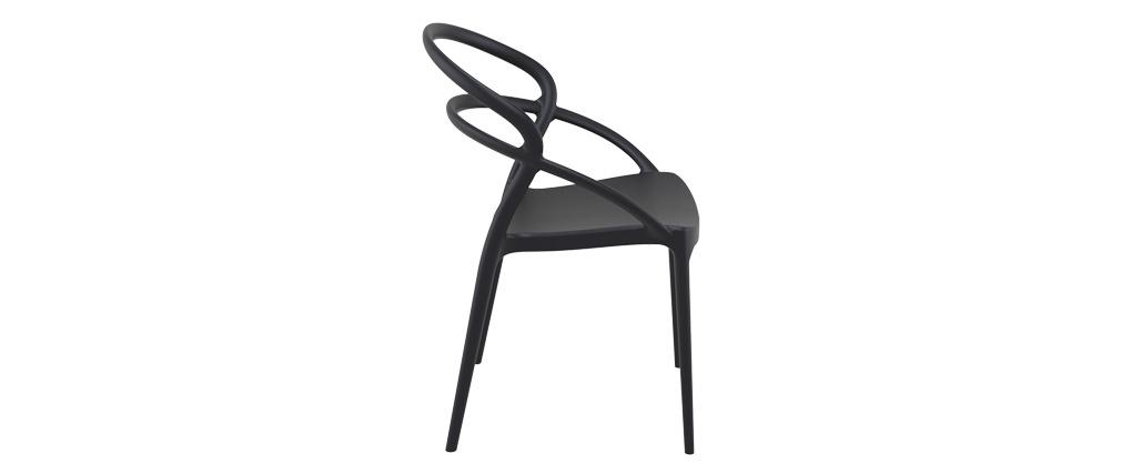 Sedie design impilabili nere da interno / esterno (set di 4) COLIBRI