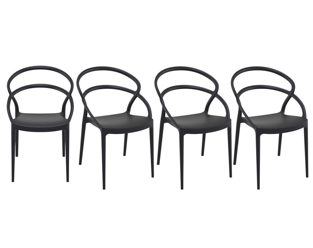 Sedie Design Impilabili Nere Da Interno Esterno Set Di 4 Colibri Miliboo