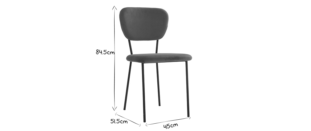 Sedie design in tessuto grigio e struttura in metallo nero for Sedie tessuto design