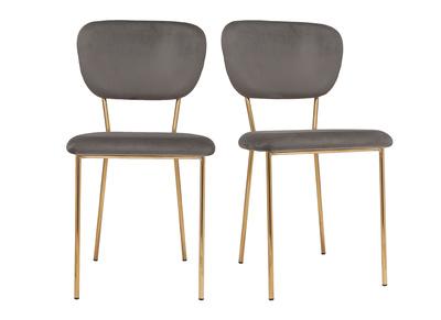 Sedie design in tessuto Grigio scuro e struttura in metallo dorato lotto di  2 LEPIDUS