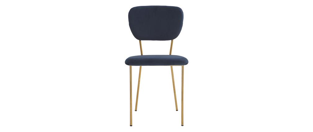 Sedie design in velluto blu e struttura in metallo dorato for Sedie design metallo