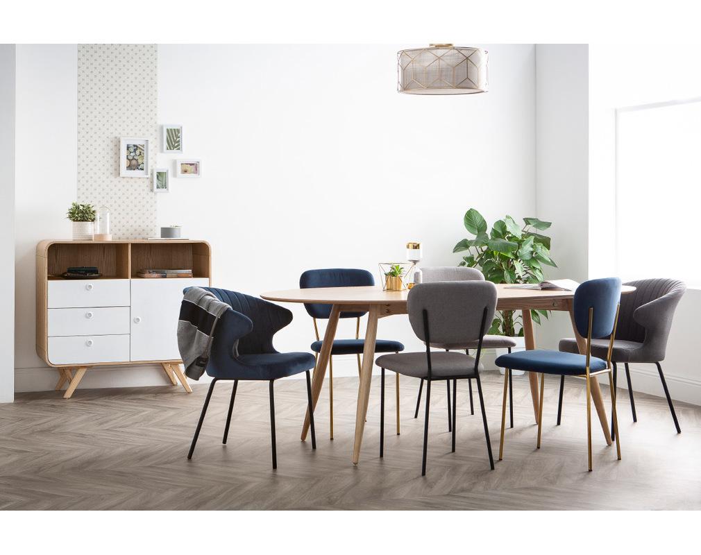Sedie Design In Velluto Blu E Struttura In Metallo Dorato Lotto Di 2 Lepidus Miliboo