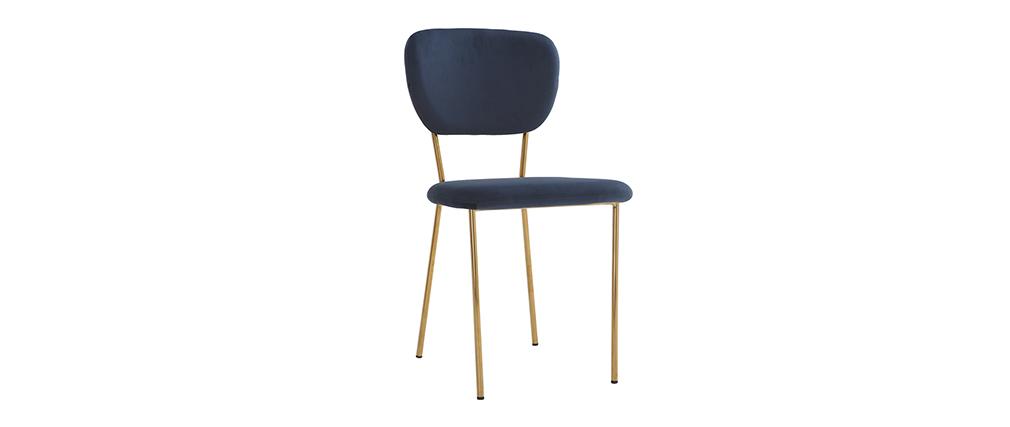 Sedie design in velluto Blu e struttura in metallo Dorato set di 2 LEPIDUS