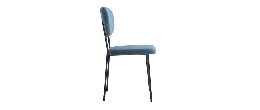 Sedie design in velluto Blu e struttura in metallo Nero lotto di 2 LEPIDUS