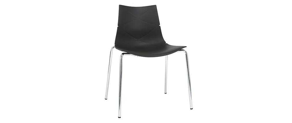 Sedie design Nero impilabili con motivo grafico e piedi in metallo - lotto di 2 GUSTO